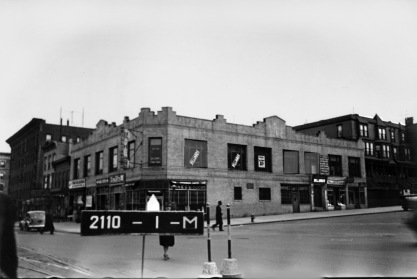 Billiard Parlor, Cafe, Wines and Liquor store, miscellaneous storefronts, Northeast corner, Amsterdam Avenue and West 162nd Street (notice streetcar tracks)